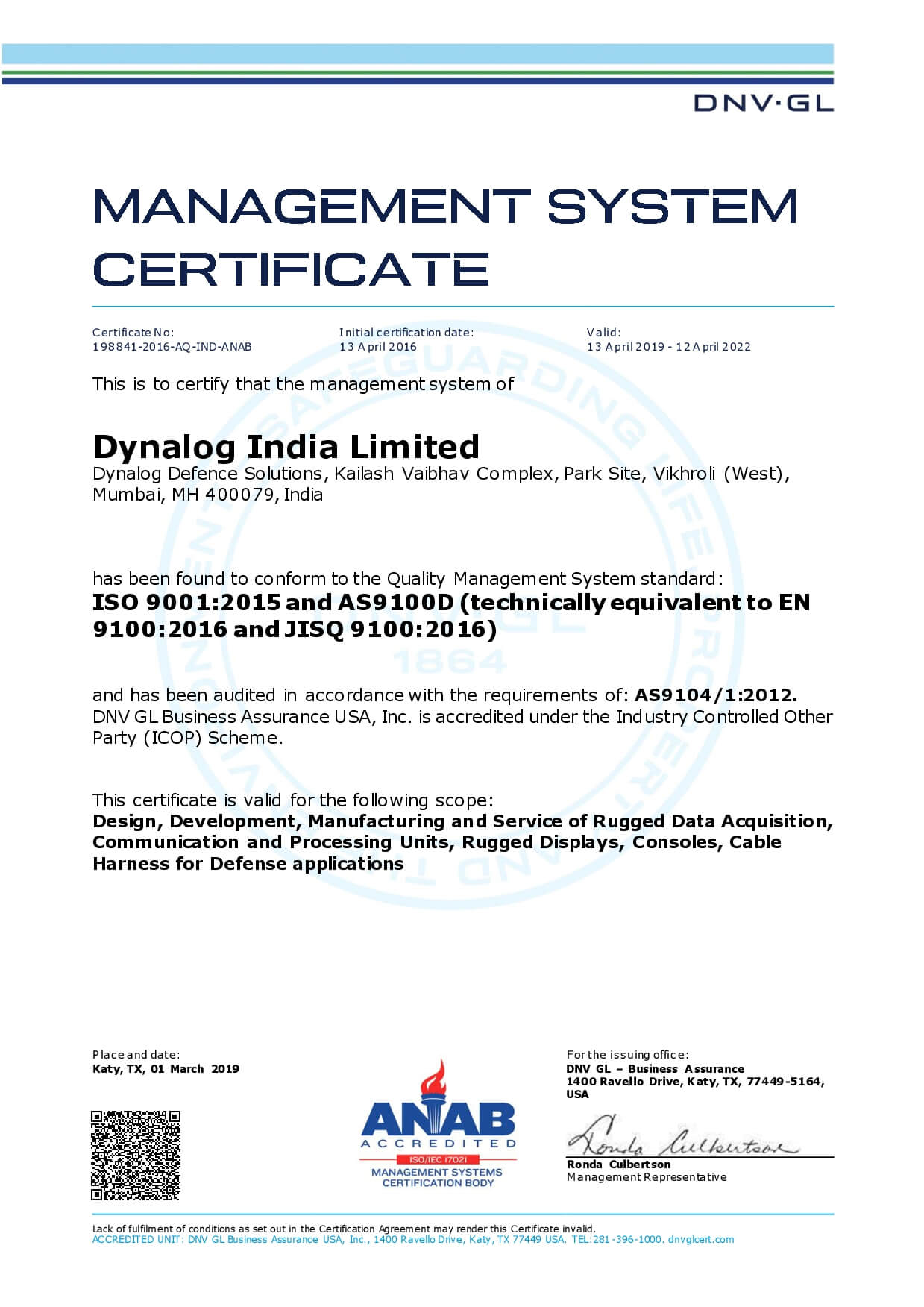 ISO-9001:2015 and AS9100D Certificate