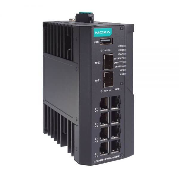 EDR-G9010 - 8 GbE copper + 2 GbE SFP based multi port Industrial Secure Router