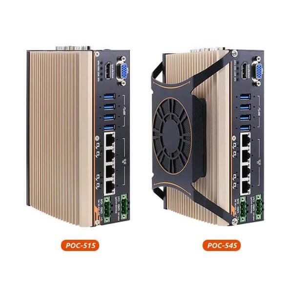 POC-500 series AMD Ryzen™ V1605B/ V1807B ultra-compact rugged embedded computer with 4x PoE+ & MezIO™ interface